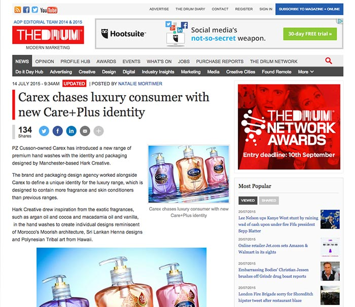 The Drum article on Carex and hark creative